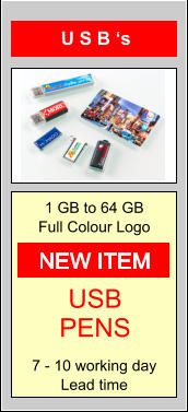 U S B 's 1 GB to 64 GB Full Colour Logo  7 - 10 working day Lead time USB PENS NEW ITEM
